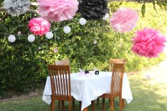 Outside - Tissue paper pompoms with balloon lights and floating pink crystals. The pompoms glowed once it got dark.