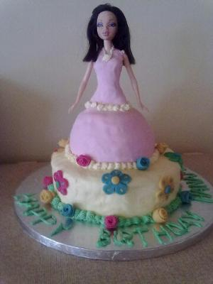 Brunette Barbie Cake