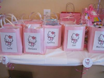 Hello Kitty Goody bags with little girls names on them