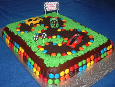 Cars Birthday Cake on Race Track Birthday Cake