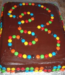 Use M&M's to outline your Race Car Track Cake