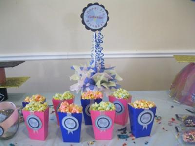 Butterfly theme popcorn boxes and centerpiece
