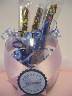 Butterfly theme chocolate covered pretzels